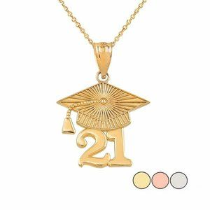 Solid Gold Class of 2021 Graduation Cap Necklace